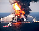 The Deepwater Horizon oil rig on fire, Louisiana, Gulf Coast, USA