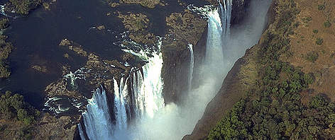 Victoria Falls, considered the the boundary between the upper and middle Zambezi.  rel=
