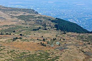 View from Vitosha Nature Park towards capital Sofia. 