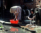 Washing clothes in Hanoi.