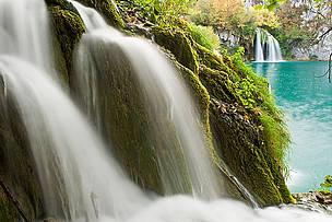 Waterfalls in autumn, Milanovac lake, Downer lakes, Plitvice National Park, Croatia.
