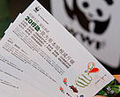 Advice cards in chinese language, produced by WWF, on how to reduce your carbon footprint, COP 15, United Nations Climate Change Conference, Copenhagen, Denmark.