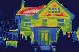 Thermal image of a house in New Haven, USA