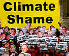 Mass 'Climate Shame' demonstration outside the Klimaforum temporary building, where all NGO's set up a new base after being denied further access to the Bella Centre.