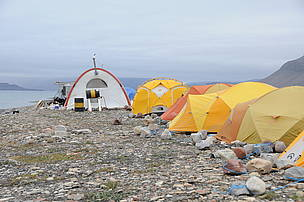 Base camp for the Narwhal tagging team at Tremblay Sound, Nunavut, Canada.