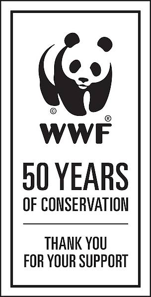wwf 50th panda logo badge / &copy;: WWF