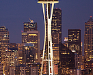 The Space Needle and Cityscape, Seattle, Washington, USA