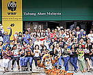 Staff of WWF Malaysia, TRAFFIC SEA and MYCAT with their postcards to tiger rangers.