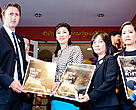 WWF representatives hand over the half-million signature petition calling for a complete ban on the Thai ivory trade to Prime Minister Yingluck Shinawatra (center) in Bangkok. 27 February 2013.