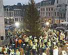 WWF campaigners lighting a Christmas tree by bicycle power in Utrecht, the Netherlands.