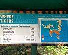 Sign at Perth Zoo, showing tiger populations and habitat loss